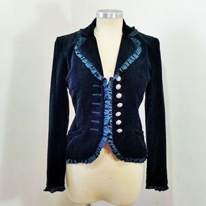 Andrea Behar Teal Velvet Jacket Blazer Silk Trim